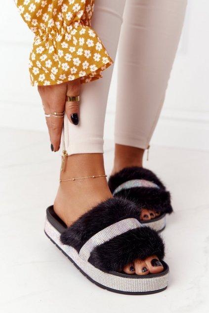 Dámske šľapky farba čierna kód obuvi CK187 BLACK