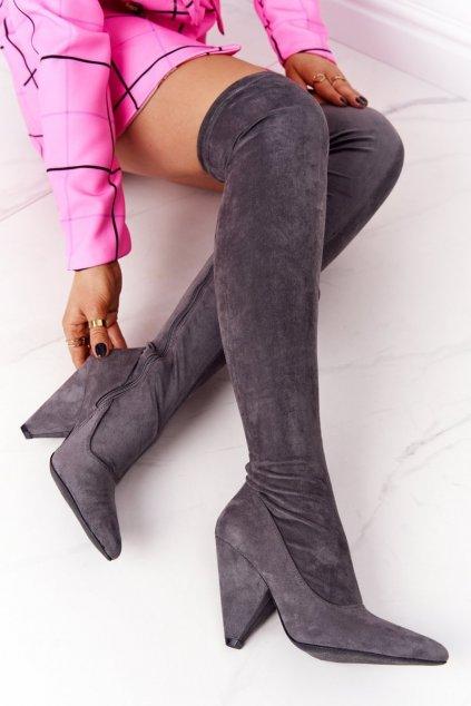 Dámske čižmy farba sivá kód obuvi XW37356 GREY.S