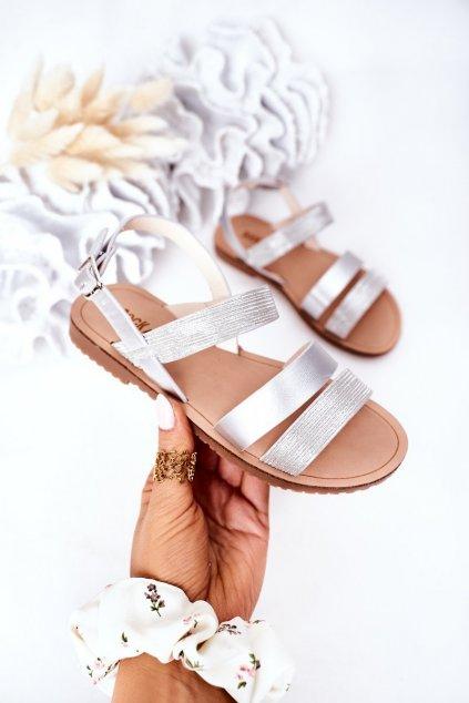 Detské sandále farba hnedá kód obuvi 255-C SILVER