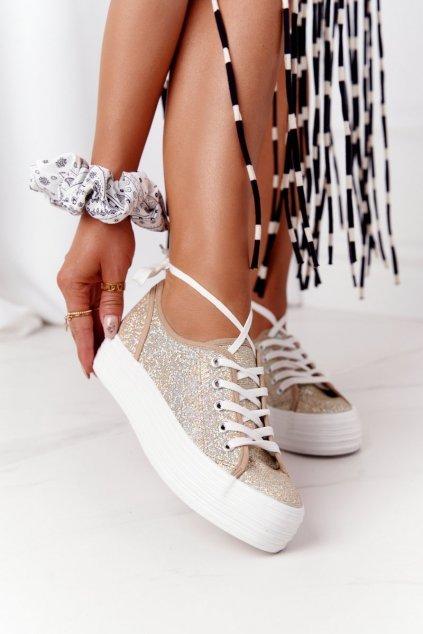 Dámske tenisky farba žltá kód obuvi L09613 GOLD
