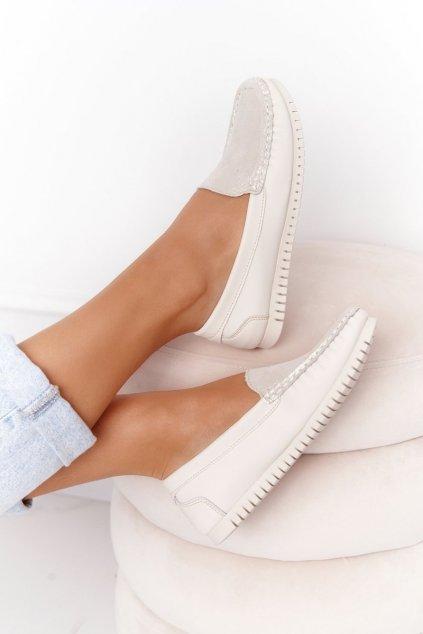 Dámske mokasíny farba sivá kód obuvi 97630 BEIGE