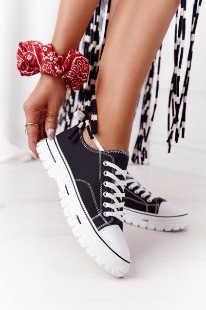 Dámske tenisky farba čierna kód obuvi LC9719-1 BLACK