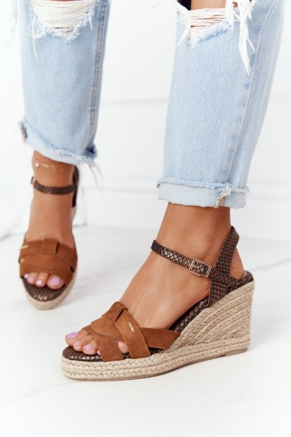 Dámske sandále farba hnedá kód obuvi HH274377 BROWN