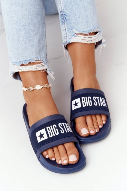 Dámske šľapky farba modrá kód obuvi HH274A015 NAVY