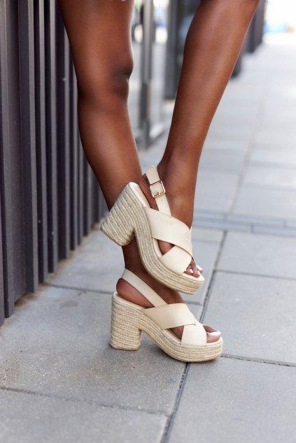 Dámske sandále farba hnedá kód obuvi HH274388 BEIGE