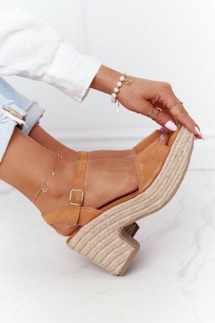 Dámske sandále farba hnedá kód obuvi HH274394 CAMEL