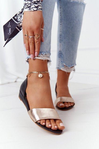 Dámske sandále farba čierna kód obuvi 01971-46/00-5 CZARNY, ZŁOTO
