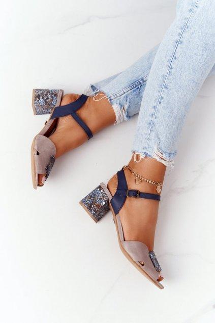 Dámske sandále farba hnedá kód obuvi 04120-43/00-5 BEŻ, NIEBIESKI