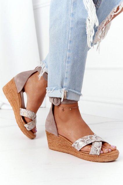 Dámske sandále farba hnedá kód obuvi 04565-04/00-5 BEŻ,ZŁOTY