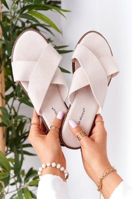 Dámske šľapky farba hnedá kód obuvi 5143 BEIGE