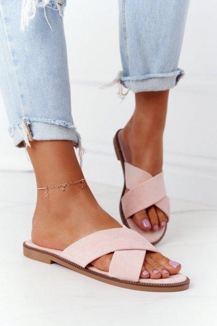 Dámske šľapky farba ružová kód obuvi 5143 PINK