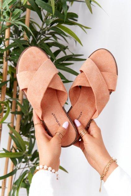 Dámske šľapky farba oranžová kód obuvi 5143 PEACH