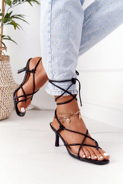 Dámske sandále farba čierna kód obuvi LL-223 BLACK