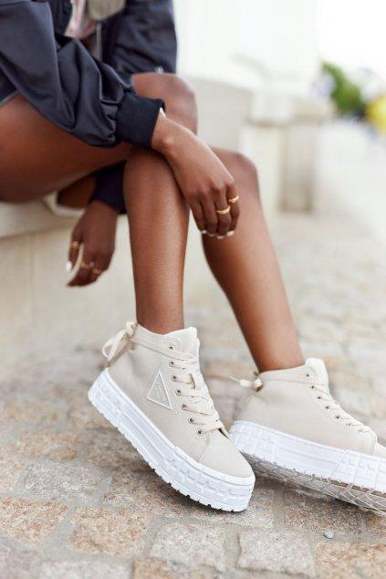 Dámske tenisky farba hnedá kód obuvi GD-HR-29 BEIGE