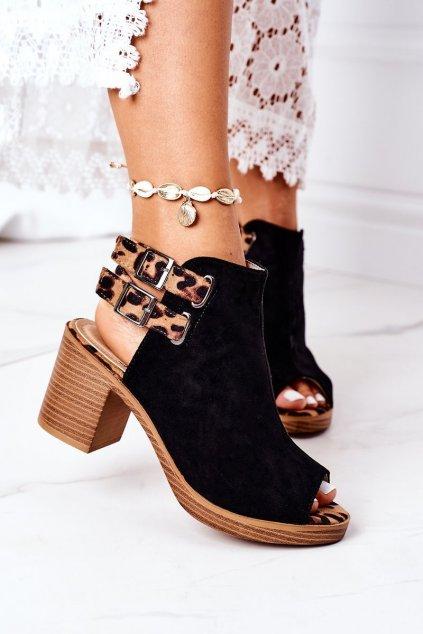 Dámske sandále farba čierna kód obuvi 318-29 BLACK/CAMEL
