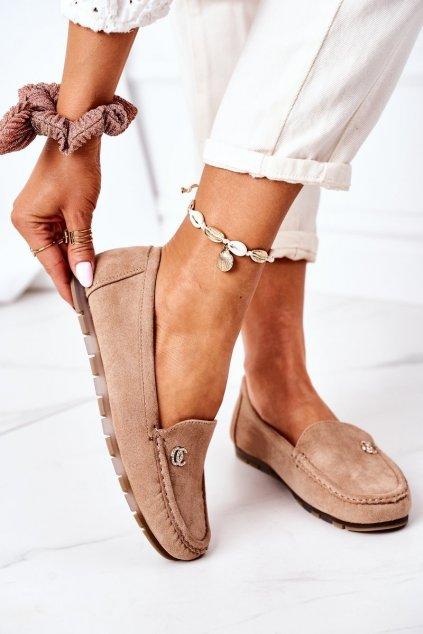Dámske mokasíny farba hnedá kód obuvi GS14P KHAKI OC
