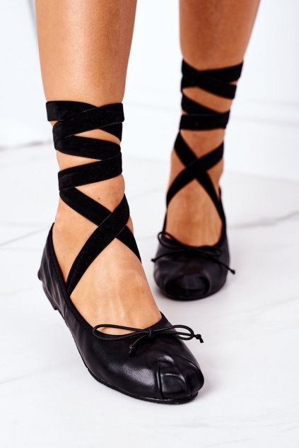 Dámske balerínky farba čierna kód obuvi B12-26 BLACK