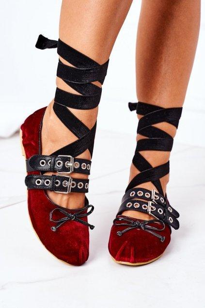 Dámske balerínky farba červená kód obuvi B12-18 RED