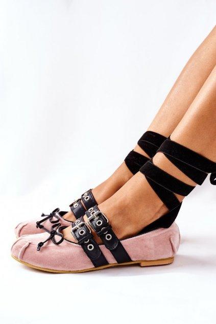 Dámske balerínky farba hnedá kód obuvi B12-18 APRICOT