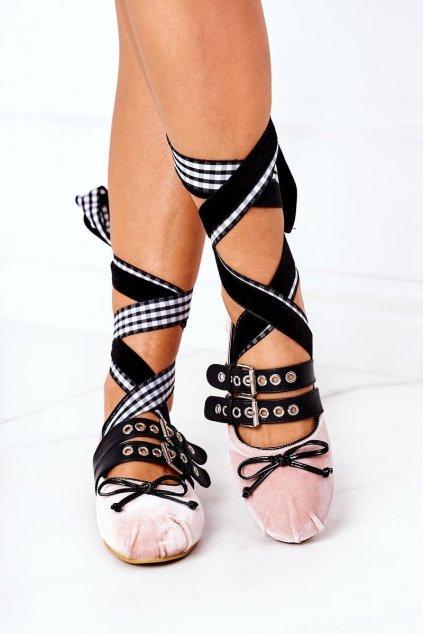 Dámske balerínky farba ružová kód obuvi B12-18 PINK