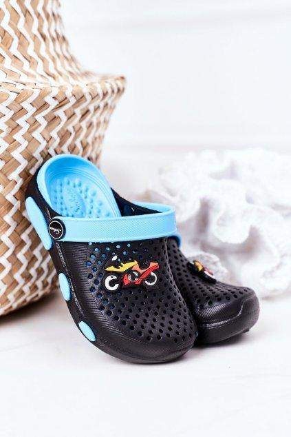 Detské šľapky farba čierna kód obuvi E7109 BLK BLUE