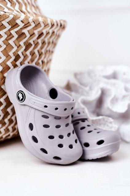 Detské šľapky farba sivá kód obuvi F-005 GREY