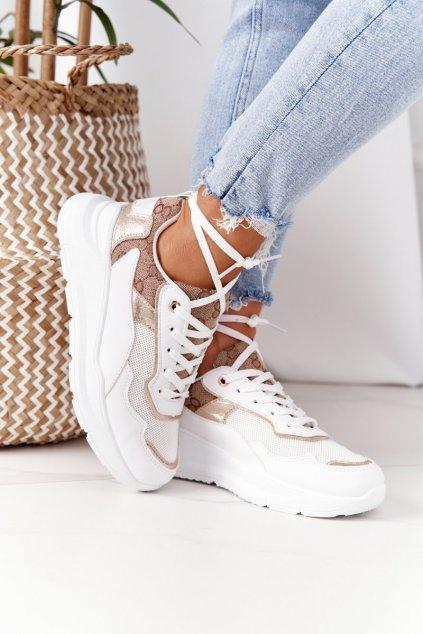 Dámske tenisky farba žltá kód obuvi KLQS-20 WHITE GOLD