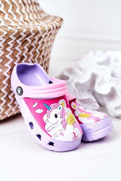 Detské šľapky farba ružová kód obuvi 8938CC PURPLE PINK