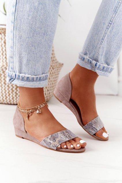 Dámske sandále farba hnedá kód obuvi 01971-56/00-5 BEŻ KROPKI