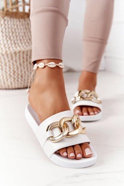 Dámske šľapky farba biela kód obuvi CK203 WHITE