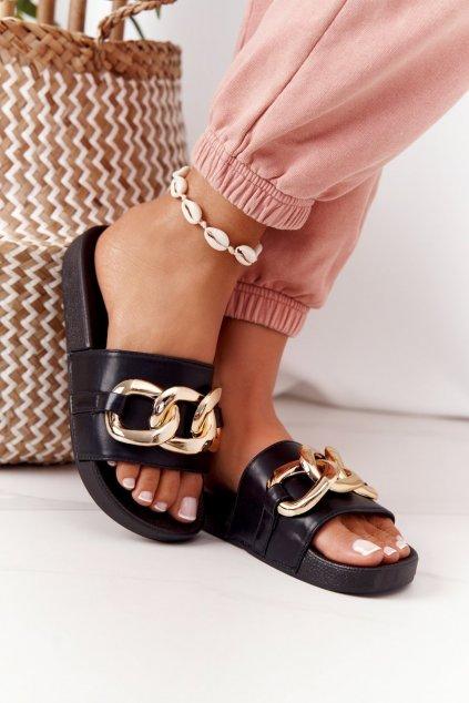 Dámske šľapky farba čierna kód obuvi CK203 BLACK
