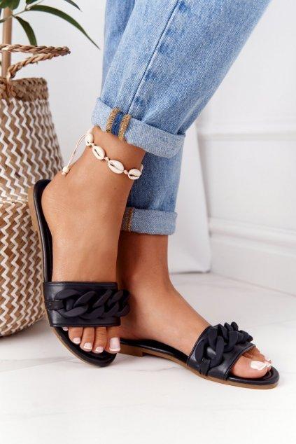 Dámske šľapky farba čierna kód obuvi CK205 BLACK