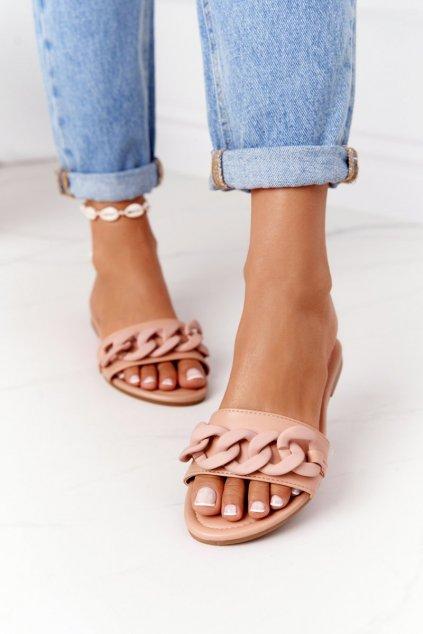 Dámske šľapky farba hnedá kód obuvi CK205 KHAKI