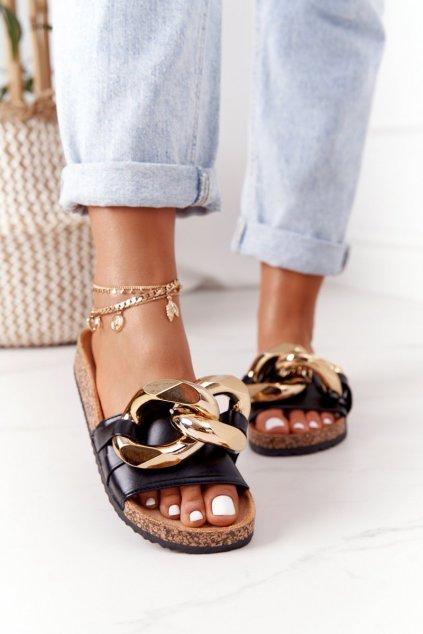 Dámske šľapky farba čierna kód obuvi CK201 BLACK