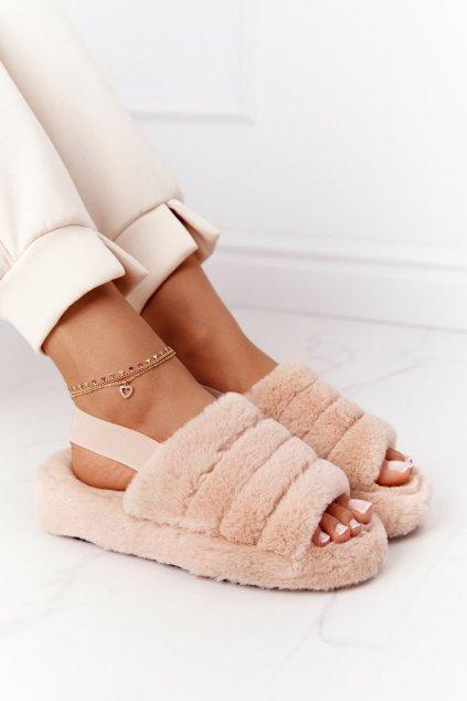 Dámske šľapky farba hnedá kód obuvi BG69 KHAKI