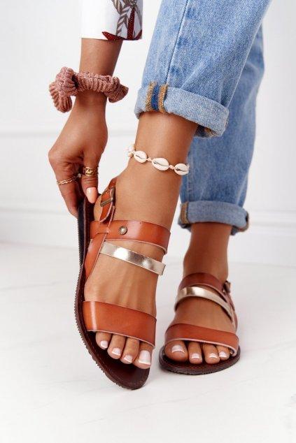 Dámske sandále farba hnedá kód obuvi 20SD77-1942 CAMEL-GOLD