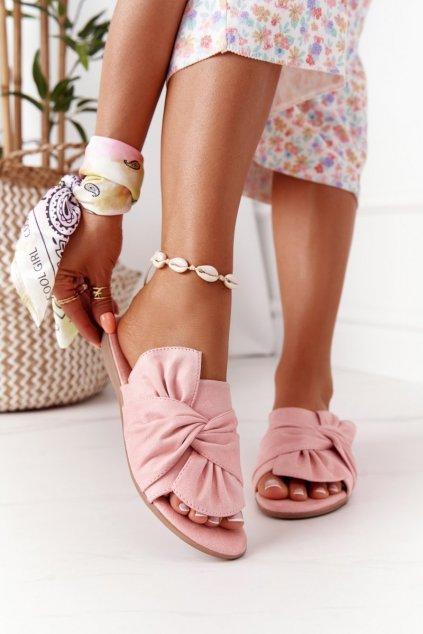 Dámske šľapky farba ružová kód obuvi 9SD35-0990 PINK SUEDE