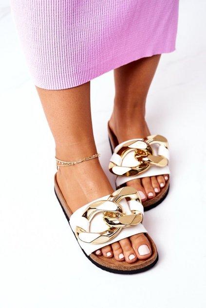 Dámske šľapky farba biela kód obuvi SB002 WHITE