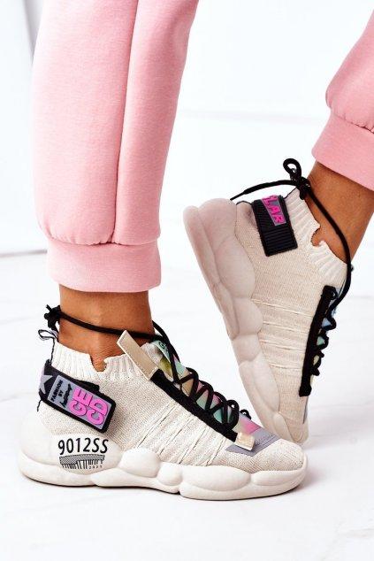 Dámske tenisky farba hnedá kód obuvi LA69 BEIGE