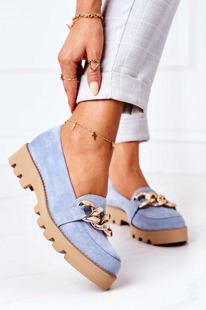 Dámske mokasíny farba modrá kód obuvi 3040 BŁĘKIT