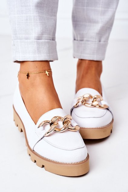 Dámske mokasíny farba biela kód obuvi 3040 BIAŁY GROCH