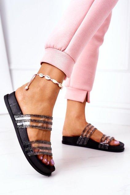 Dámske šľapky farba čierna kód obuvi RS01 BLK