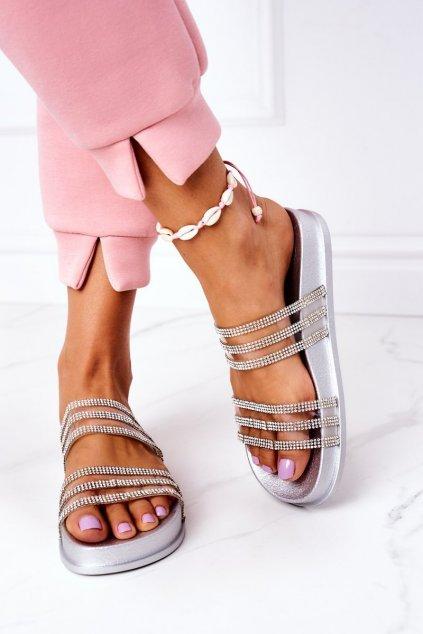 Dámske šľapky farba sivá kód obuvi RS01 SILVER