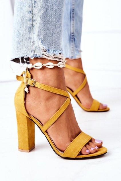 Dámske sandále farba žltá kód obuvi GG88 YELLOW