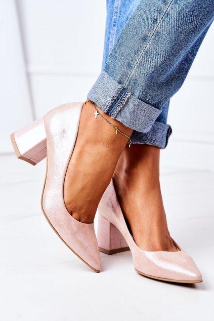 Dámske lodičky farba ružová kód obuvi 2801 RÓŻ SATYNA