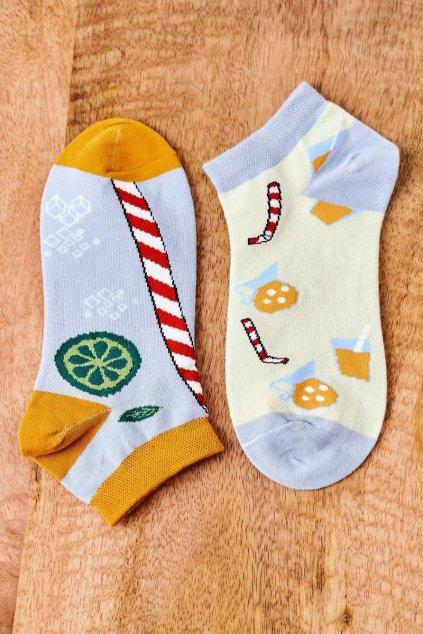 Dámske ponožky farba žltá kód SK02870-2 DRINK SŁOMKA