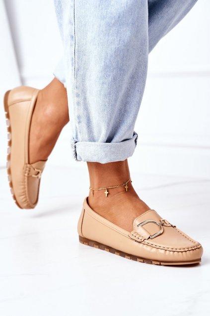 Dámske mokasíny farba hnedá kód obuvi GS21 KHAKI