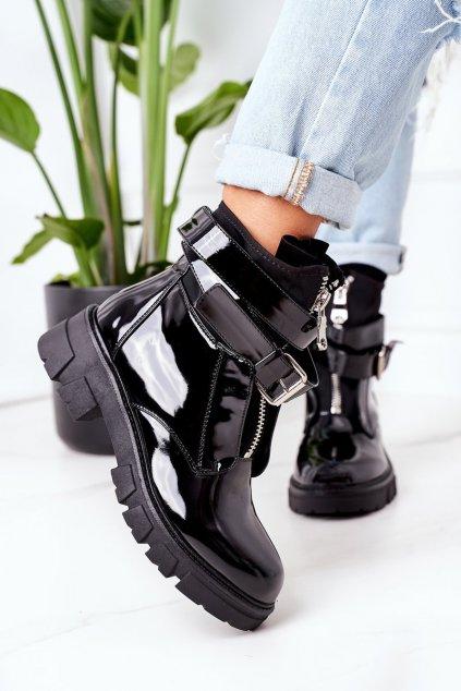 Členkové topánky na podpätku farba čierna kód obuvi NC1171 BLK