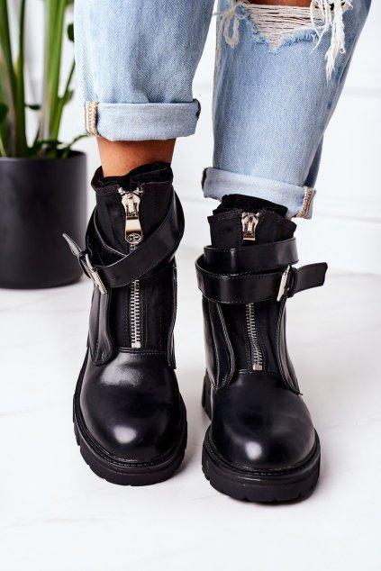Členkové topánky na podpätku farba čierna kód obuvi NC1170 BLK