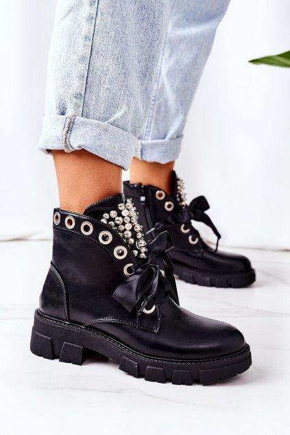 Členkové topánky na podpätku farba čierna kód obuvi NC1177 BLACK